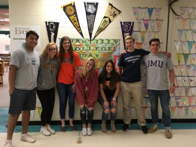 Poplar Tree Alumni dressed in college gear
